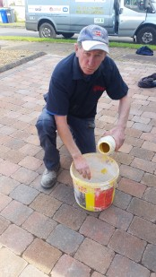 Adding the dye to the mortar to ensure the best colour match to existing finish